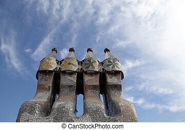 Smoke Stacks - Chimney smoke stacks clustered together with...