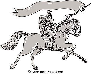 Knight Riding Horse Shield Lance Flag Retro - Illustration...