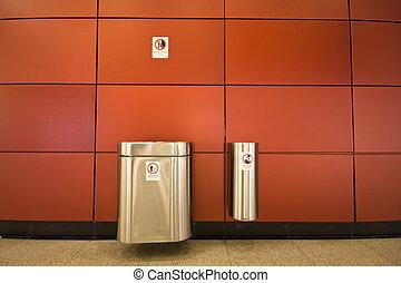 it is two rubbish bins in public area