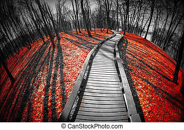 road in the red forest Mystical landscape three colors black...