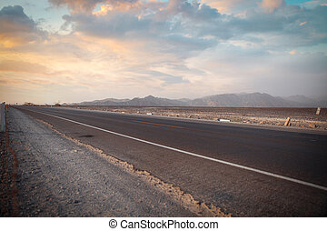 Panamericana in Nazca, Peru Scenic landscape of desert and...