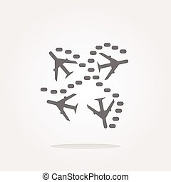 vector Plane set on icon glossy button isolated on white