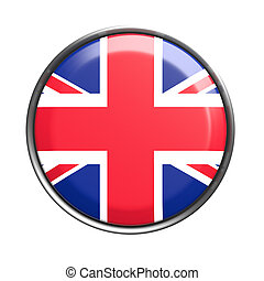 Button with UK flag - 3d rendering of UK button on white...
