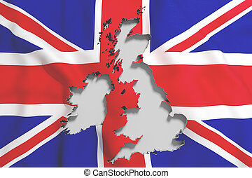 Silhouette of United Kingdom map with flag - 3d rendering of...