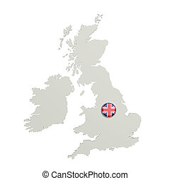 Silhouette of United Kingdom map with flag on button - 3d...