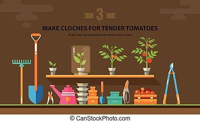 TENDER TOMATOES 1 - Stock vector illustration set garden...