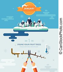 PRUNE YOUR FRUIT TREES - Stock vector illustration winter...