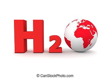 Global Hydrogen Oxide H2O - Red