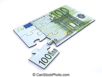 100 Euro Note Puzzle - 10 Euro note as a puzzle - one piece...