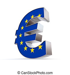 Shiny Euro Symbol - Textured Front - Flag of European Union