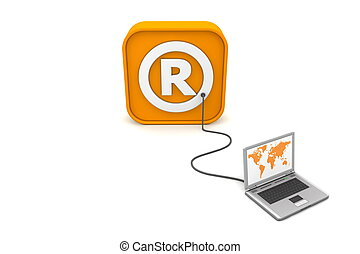 Wired to Registered Trademark-Box - laptop with orange world...