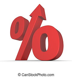 Shiny Red Percentage Up - shiny red percentage symbol with...