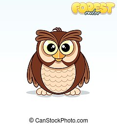 Cute Cartoon Owl. Funny Vector Animal