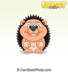 Cute Cartoon Small Hedgehog. Funny Vector Animal