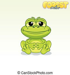 Cute Cartoon Green Frog Funny Vector Animal Series