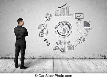 Businessman looking and thinking about calculation of...