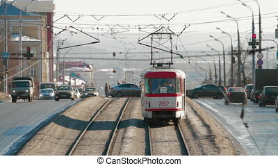 Public transport tram system called Russia Izhevsk