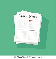 Newspaper stack vector illustration, news paper pile front...