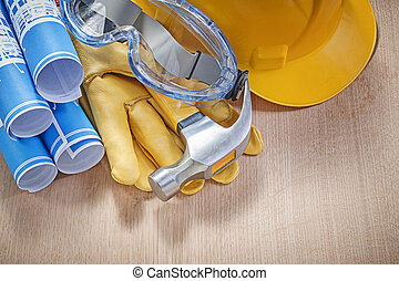 Protective workwear claw hammer rolled construction drawings...