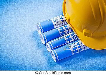 藍色, 計划, 滾動, 努力, 向上, 建設, 背景, 帽子