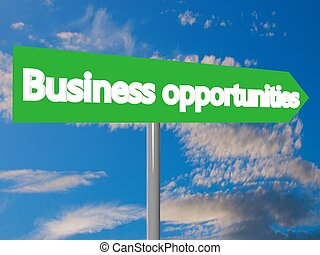 Business opportunities cartel in blue cloudy sky, 3d...