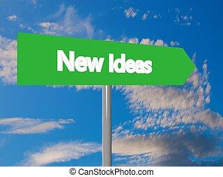 New ideas cartel in blue cloudy sky, 3d rendering