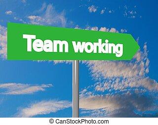 Team working cartel in blue cloudy sky, 3d rendering