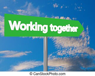 Working together cartel in blue cloudy sky, 3d rendering