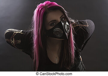 Crazy Goth Girl - maniacal looking goth girl with pink hair...