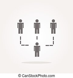 vector icon button with net of man inside, isolated on white