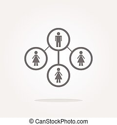 vector icon button with network of man inside, isolated on white