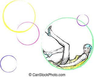 woman in bubbles