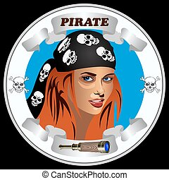 icon girl pirates - round icon with the girl pirates on the...