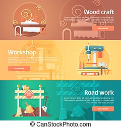 Construction and building banners set. Flat illustrations on...