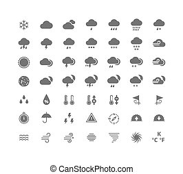 Gray silhouette weather icons set Weather forecast widgets...