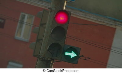 Traffic Light in City Russia