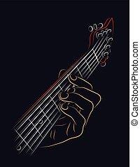 Playing guitar chord