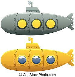 Submarine - Cartoon submarine in 2 versions over white...