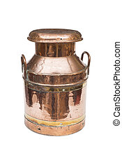 A VIntage Copper and Brass Milk Churn - A cut-out of a...