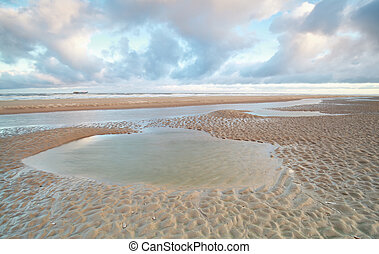 North sea beach at low tide
