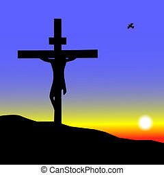Jesus on the Cross at sunrise
