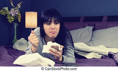 Happy woman eating sandwich in bed retro style slow motion
