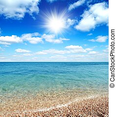 Beautiful Beach and Waves of Clear Warm Sea
