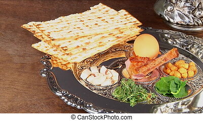Pesach matzo passover with wine and matzoh jewish passover...