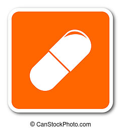 drugs orange flat design modern web icon