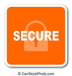 secure orange flat design modern web icon