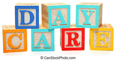 Day Care in Alphabet Blocks - Colorful wooden alphabet...
