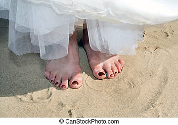 barefoot bride on the beach, summer time