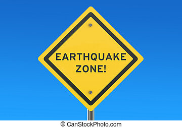 Earthquake Yellow Road Sign 3D rendering - Earthquake Yellow...