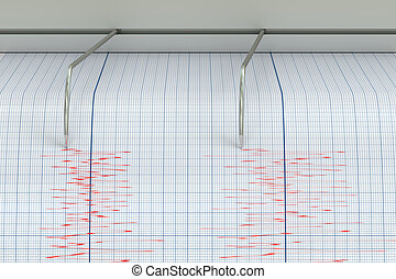 Seismograph Earthquake Activity concept, 3D rendering